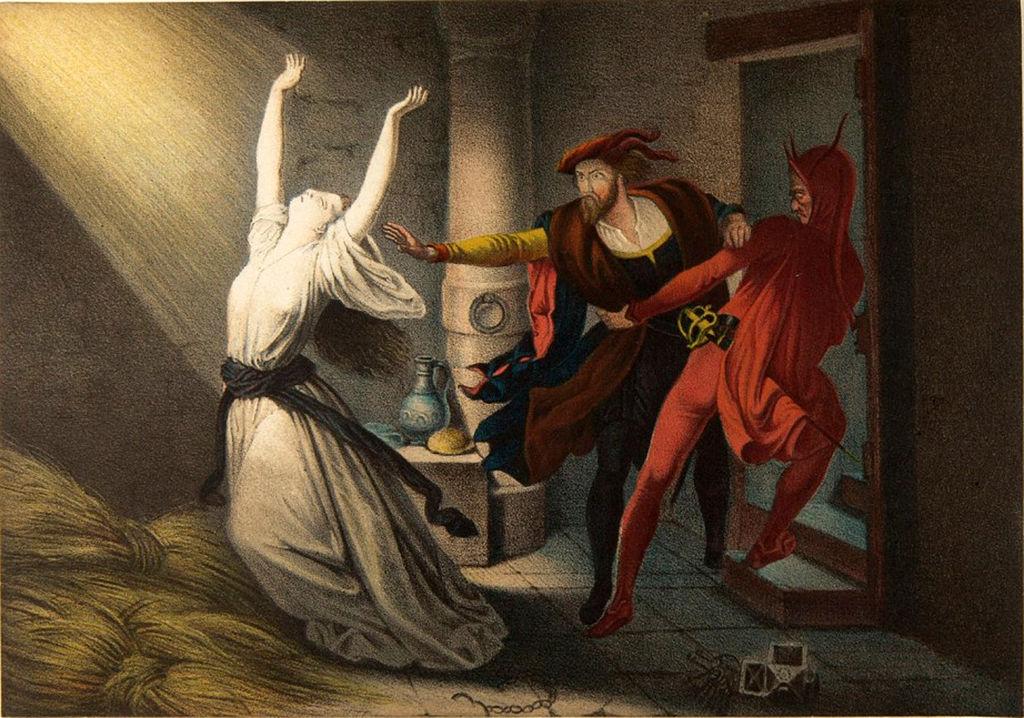 А душа Фауста, используя религиозный пыл, пошла отвоевывать у Бога и природы знание.Ð²Ð¾ многом ее провоцировал Сатана