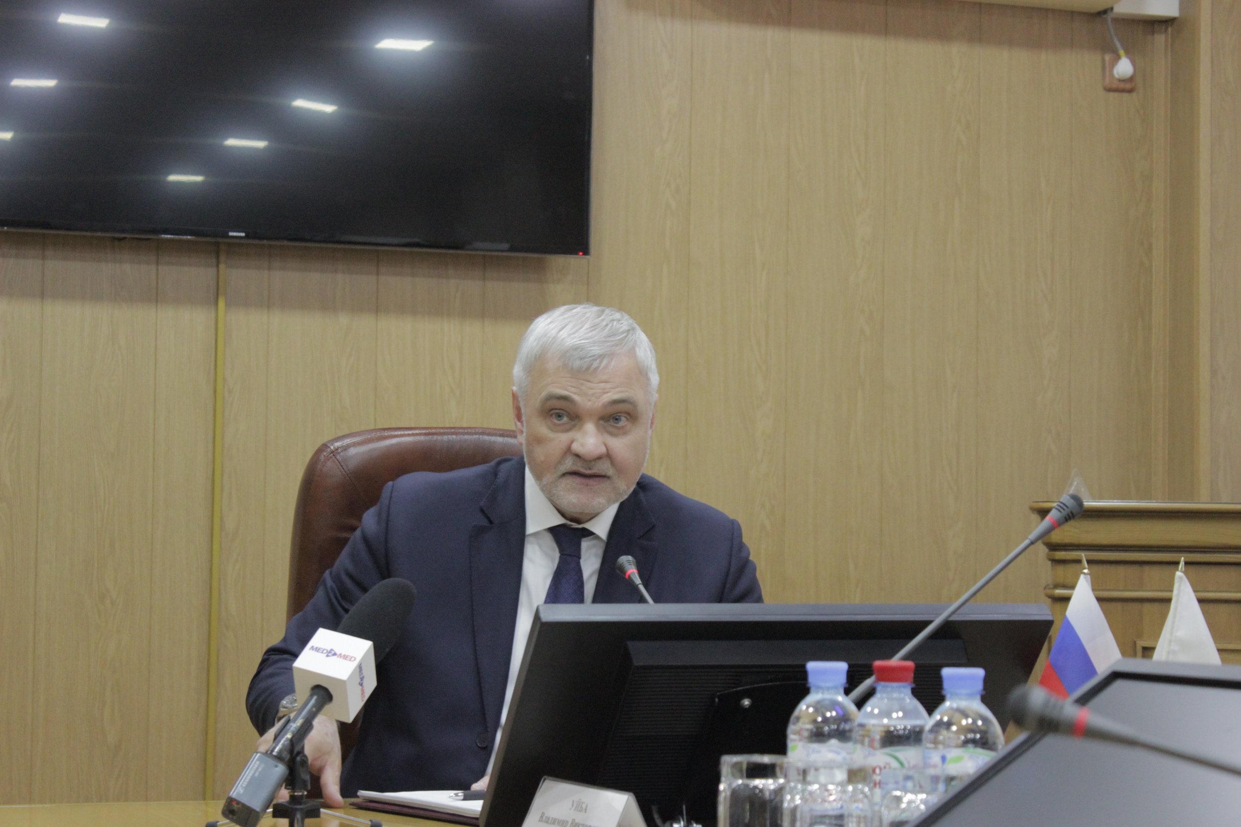Руководитель Федерального медико-биологического агентства России Владимир Уйба провел пресс-конференцию по итогам работы ФМБА в 2017 году
