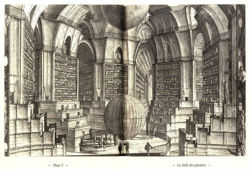 Иллюстрация к рассказу Х.Л. Борхеса. Вавилонская библиотека состоит из бесконечного множества комнат-галерей, имеющих шесть граней. В каждой галерее двадцать полок, на которых стоит по тридцать две книги в каждой из которых по четыреста страниц, на каждой странице по сорок строк, в каждой строке восемьдесят букв черного цвета. Все книги написаны при помощи двадцати пяти знаков. По библиотеке путешествуют или живут люди - библиотекари, с разными мнениями по поводу устройства и содержания Библиотеки. Герой рассказа Борхеса повествует о своих путешествиях по Библиотеке, ее истории. |tamiu.edu