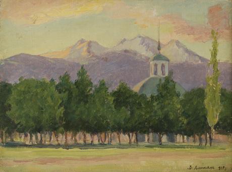 Монастырь на фоне Арагаца, 1908