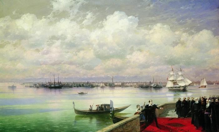 Иван Айвазовский. Посещение Байроном мхитаристов на острове святого Лазаря в Венеции, 1898