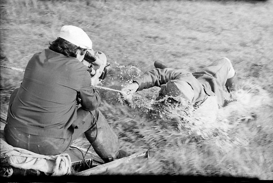 На съемках фильма «Солдат и слон» (1977). Левон Атоянц и Мгер (Фрунзик) Мкртчян