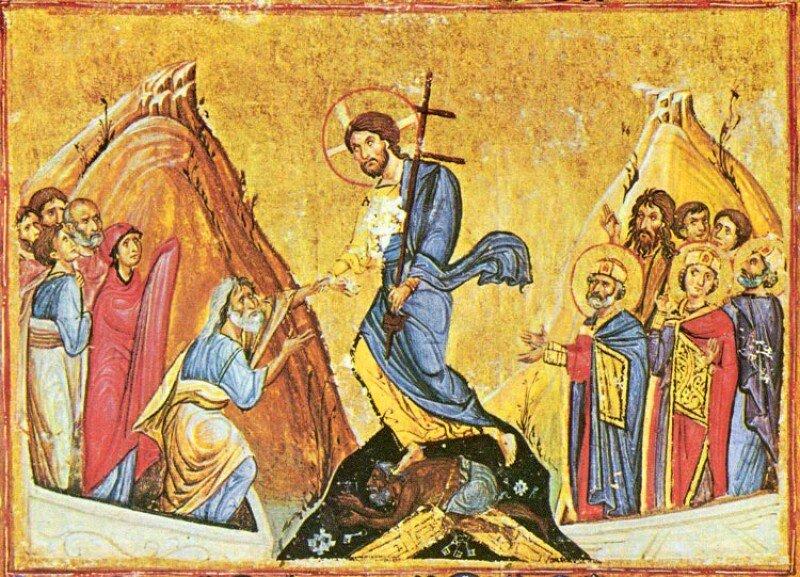 Византийская миниатюра «Анастасис». Источник: azbuka.ru