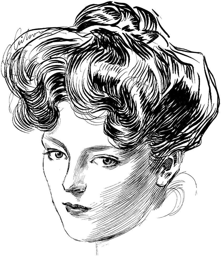 Один из эскизов, изображающий «девушку Гибсона». Источник: pinterest.it