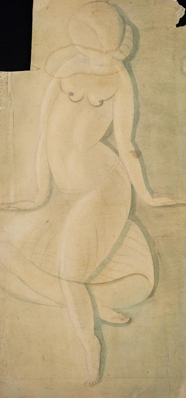 Акоп Гюрджян. Эскиз к портрету обнаженной девушки, бумага, акварель, карандаш. Из собрания    Национальной галереи Армении