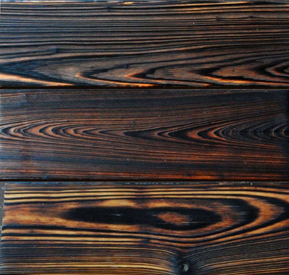 Detail of Shou Sugi ban wood planks