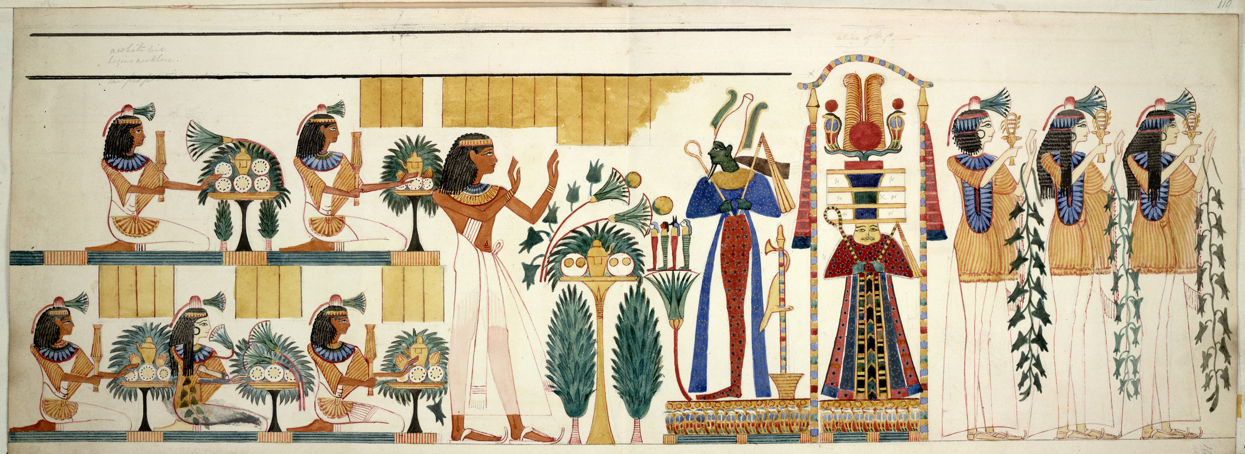 Egyptian tomb wall-painting. Procession of figures with offerings; part of a wall-painting from the tenth tomb at Gourna, Thebes. Made during an expedition to Egypt organised by Robert Hay between 1826 and 1838. Image courtesy of Wikimedia Commons.