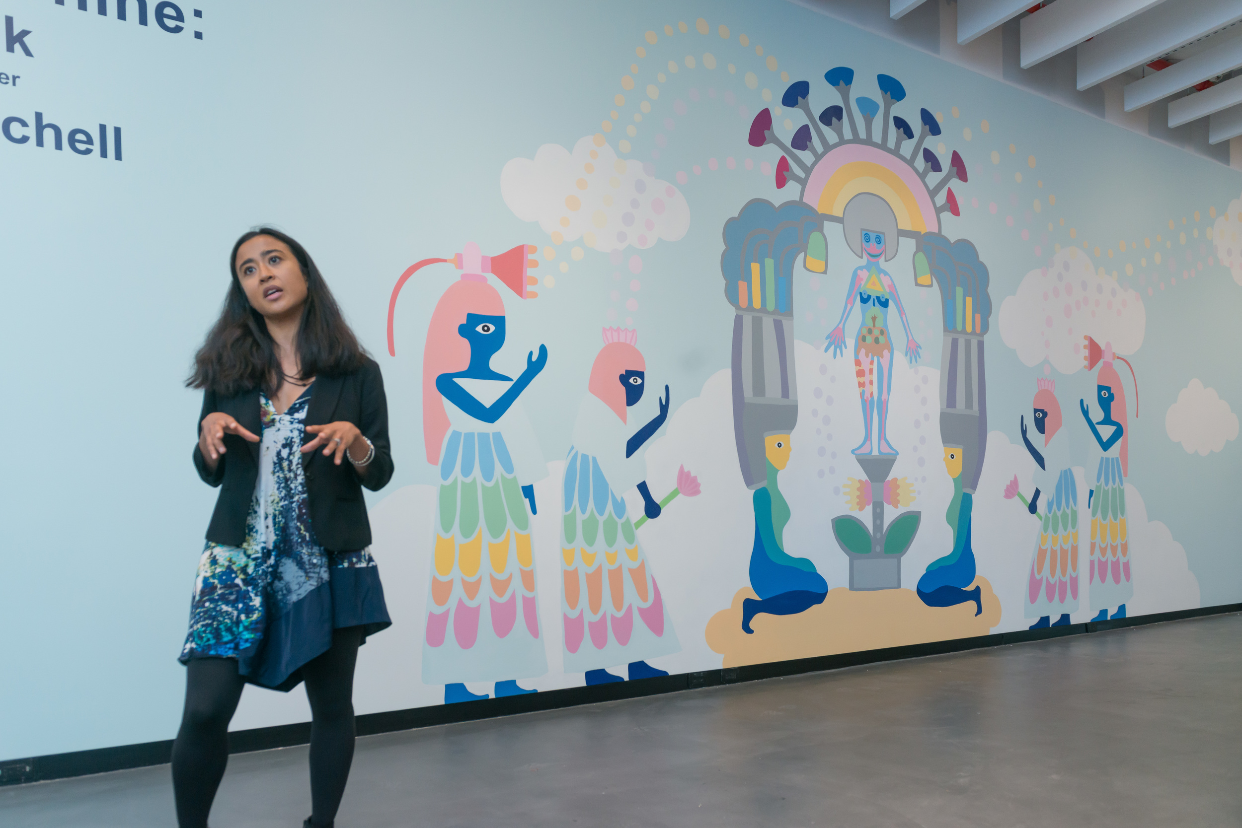 Artist Saya Woolfalk discussing her mural project at the Sugar Hill Children's Museum.   Photo by Michael Palma Mir