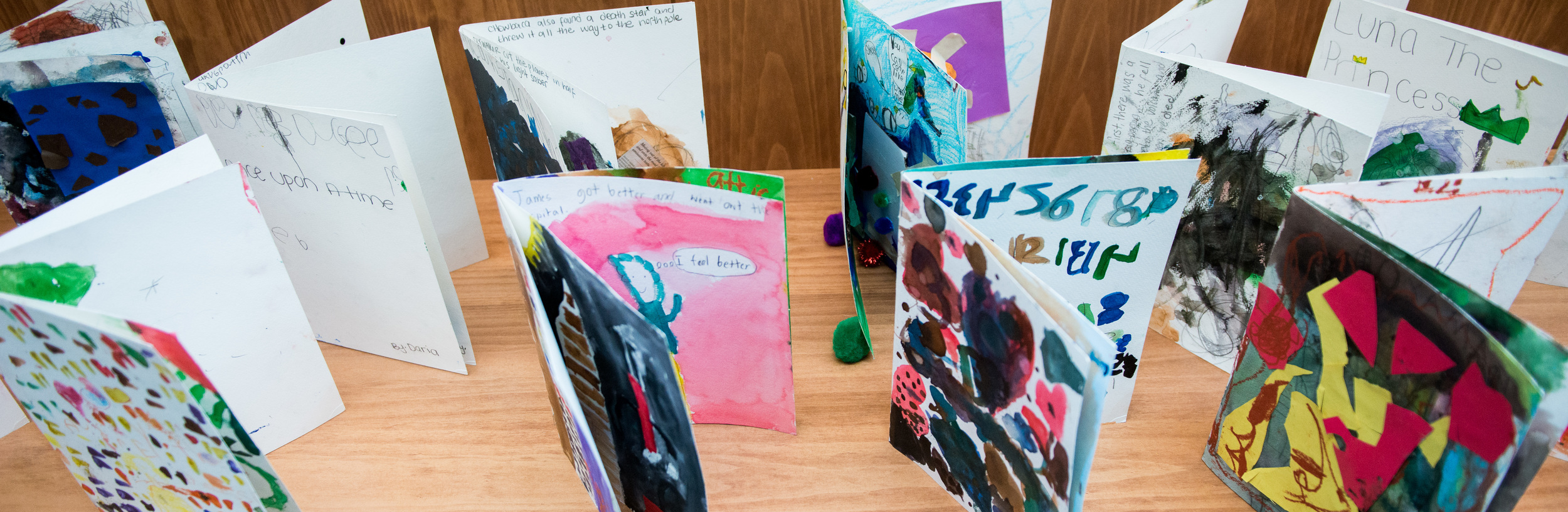 Library of children's books created during camp.    Photo by Michael Palma Mir