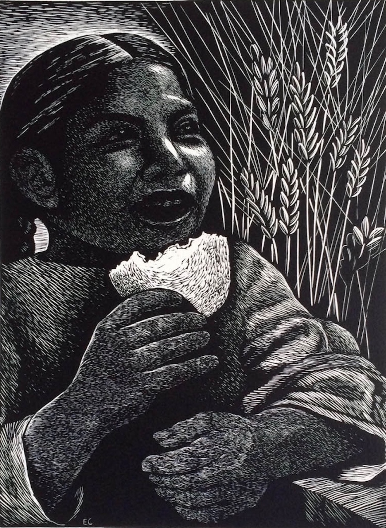 Elizabeth Catlett's   Bread for All     Art   ©  Catlett Mora Family Trust/Licensed by VAGA, New York, NY