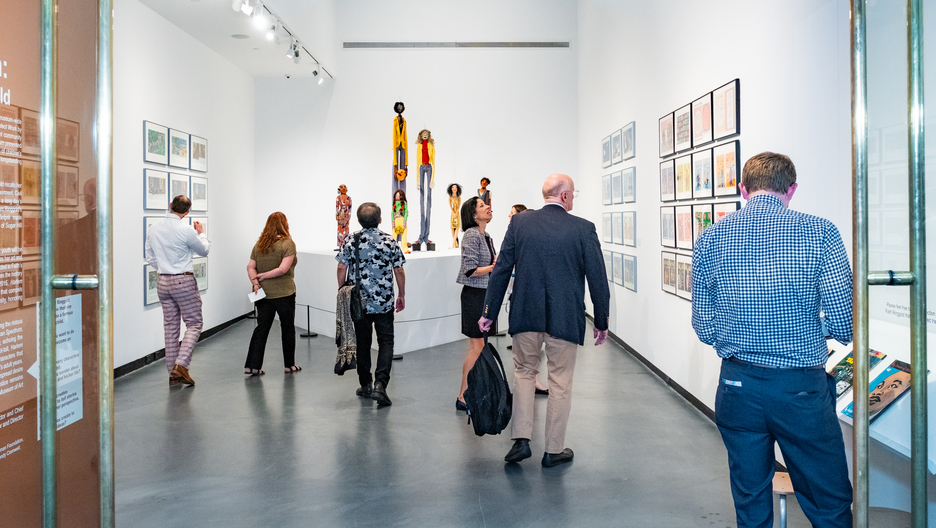 "Guests viewing the exhibition ""Human Spectrum: Narrated by Faith Ringgold"""
