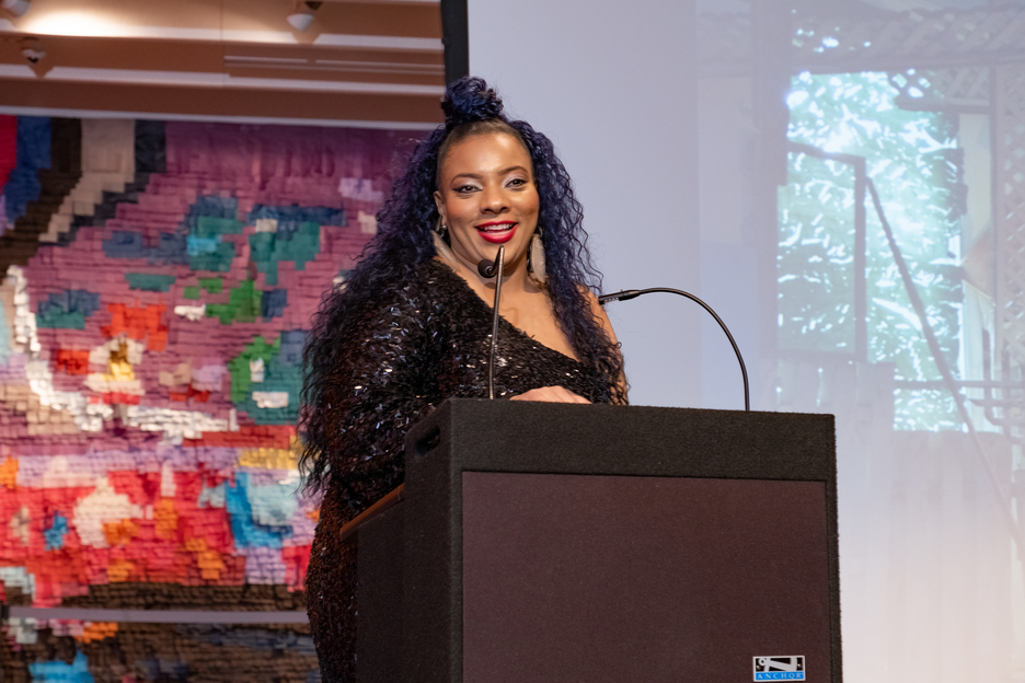 One of the evening's honorees, Artist Abigail DeVille