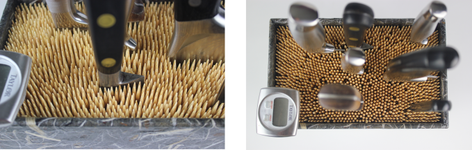 Close ups illustrate how tools can be added and the skewers move to accommodate any shape