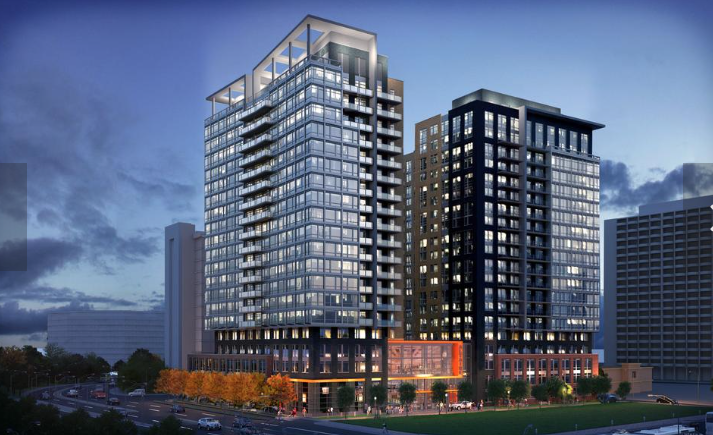 An evening, illustrative view of LCOR's The Altaire, that will replace the existing office building at 400 Army Navy Dr. Photo courtesy of the Washington Business Journal.