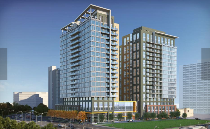 A rendering of LCOR's The Altaire, a 450 unit residential building in Crystal City that will feature unobstructed views of D.C.'s monuments. Photo courtesy of the Washington Business Journal.