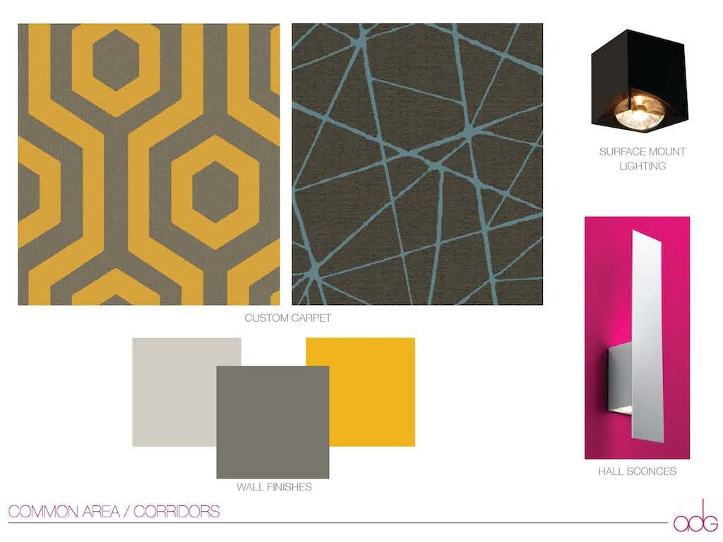 A mood board of finishes for the hotel's common areas.