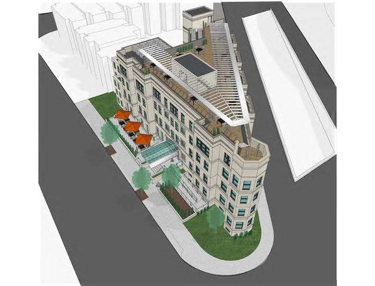 An aerial view of the future Hotel Hive. All renderings courtesy of Abdo Development.
