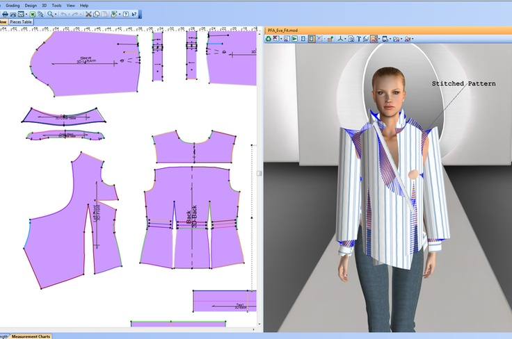 A DIGITAL FITTING: THE COMPUTER IS TAUGHT TO SEW THE GARMENT TOGETHER OVER THE MODEL. THROUGH THIS WE CAN SEE THINGS LIKE TENSION, IF THINGS ARE TO TIGHT, AND MORE TO FUTHER DEVELOP THE FIT.