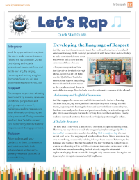 CLICK ON the image above to download a PDF of Let's Rap Quick Start Guide. [11x17 2-sided]