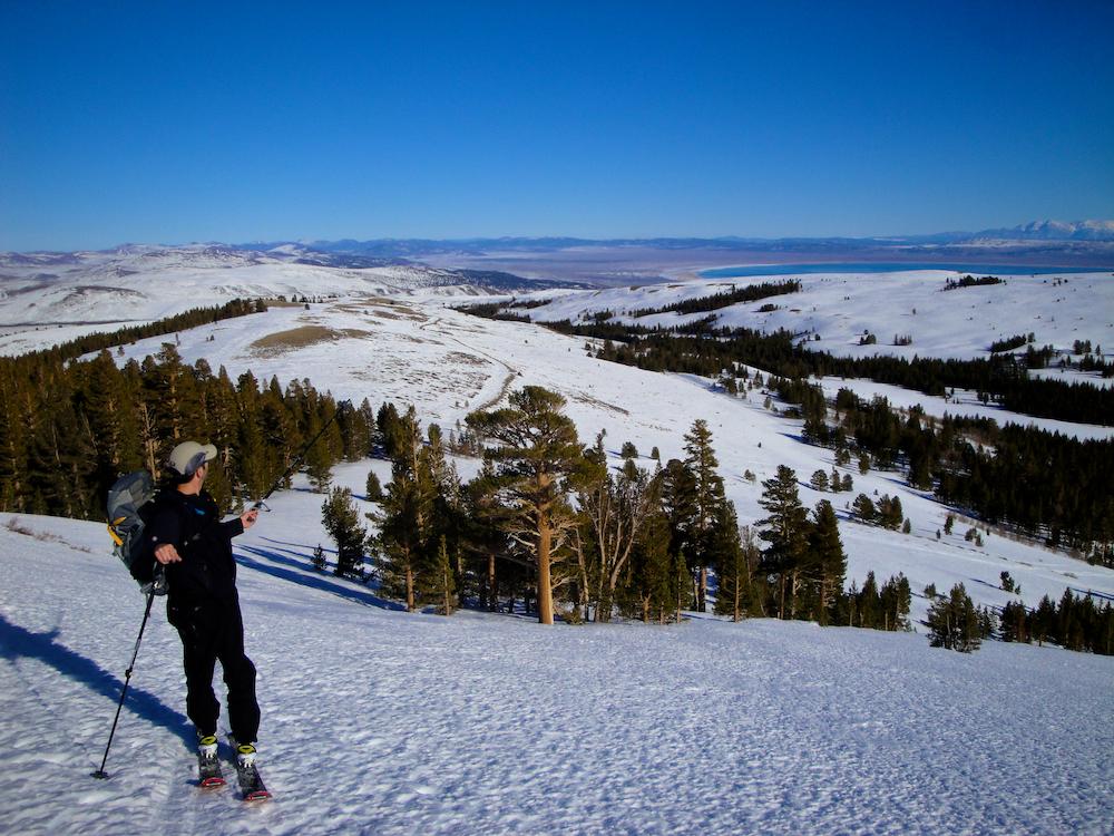 Skiing on Dunderberg Peak looking out over the Eastern Sierra