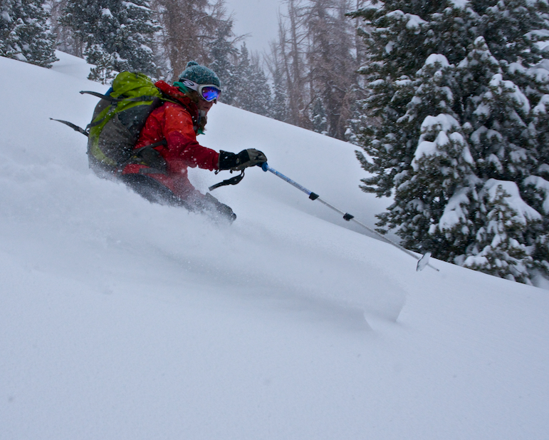 Skiing some backcountry powder!