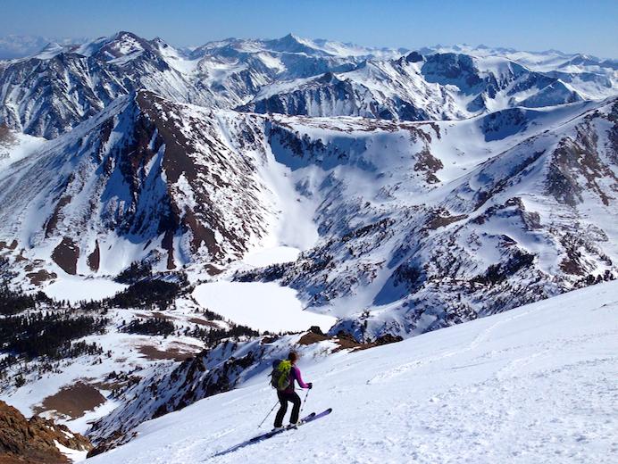 Skiing into a chute on Dunderburg Peak