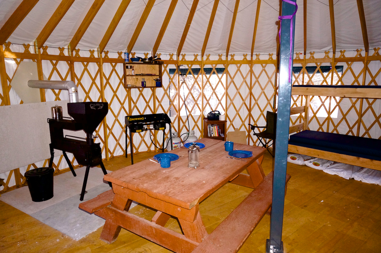 The kitchen area of the backcountry ski yurt