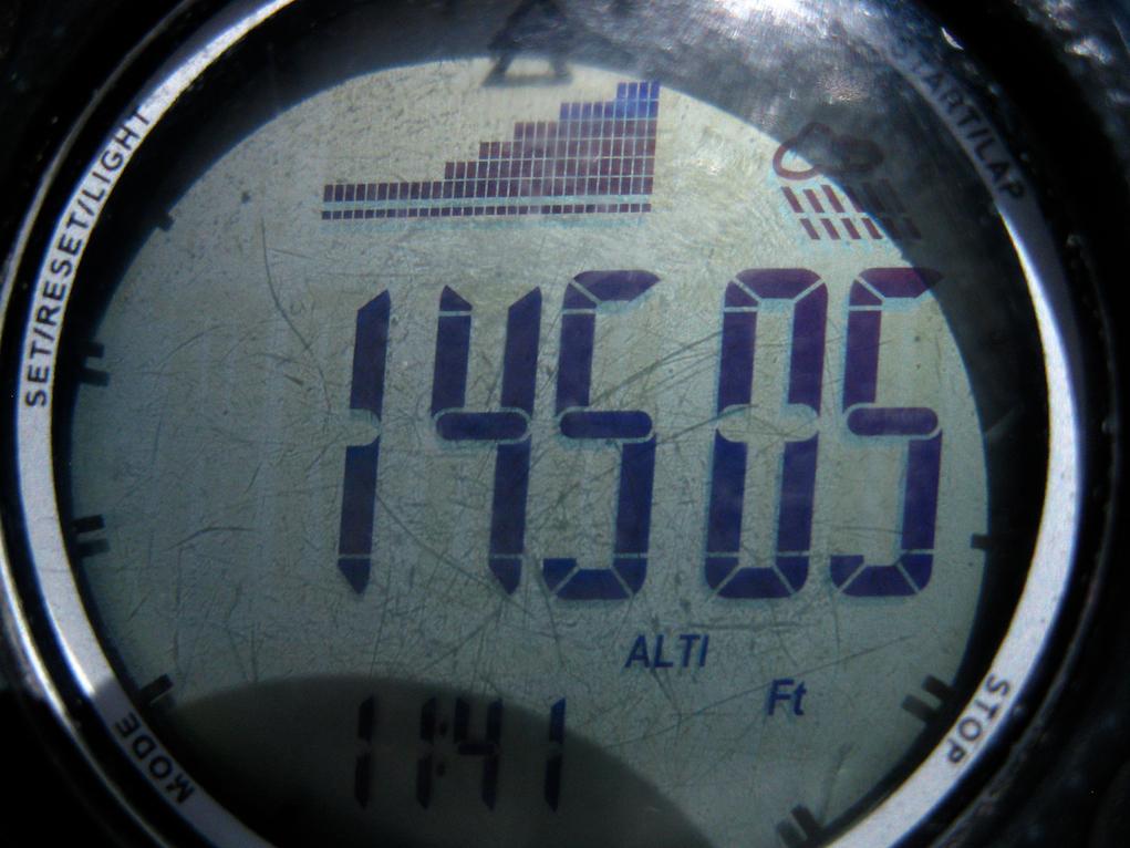 Altimeter reading on the summit