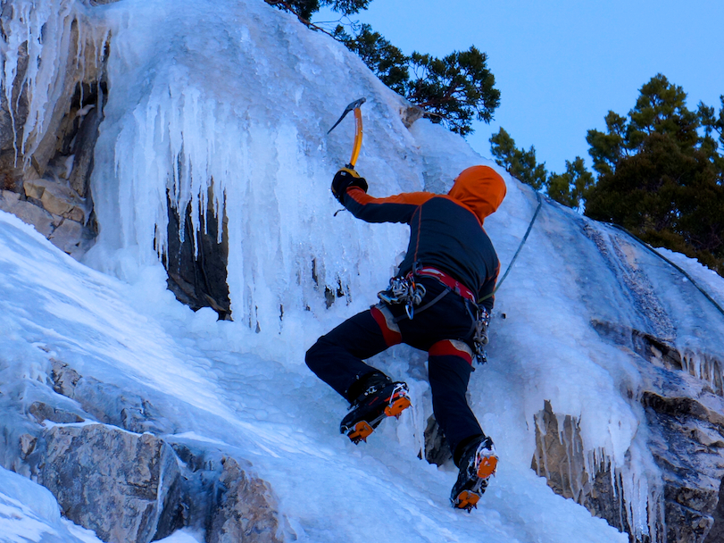 Ice climbing at Roadside Ice in June Lake