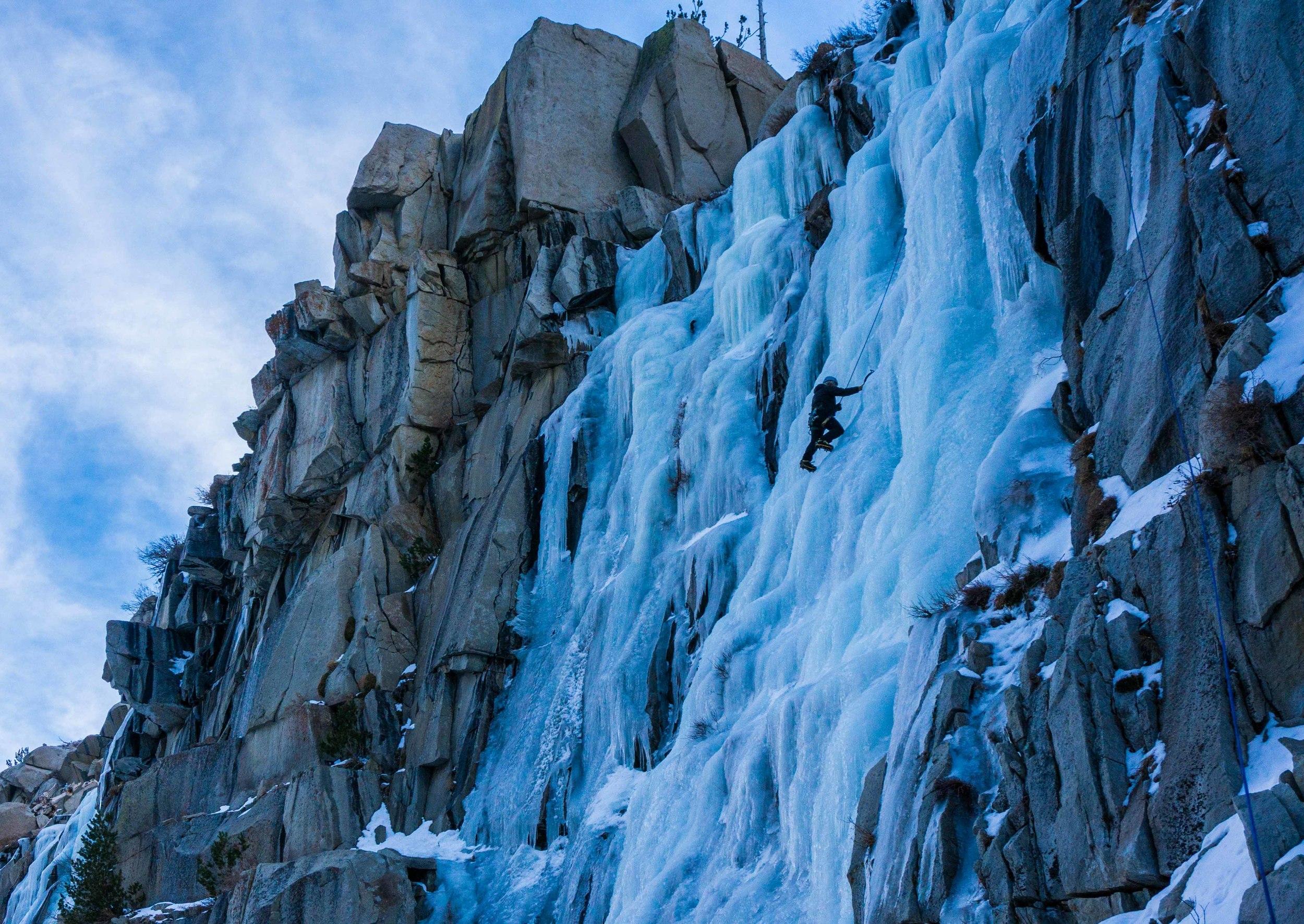 Doug enjoying the fat ice on Chouinard falls