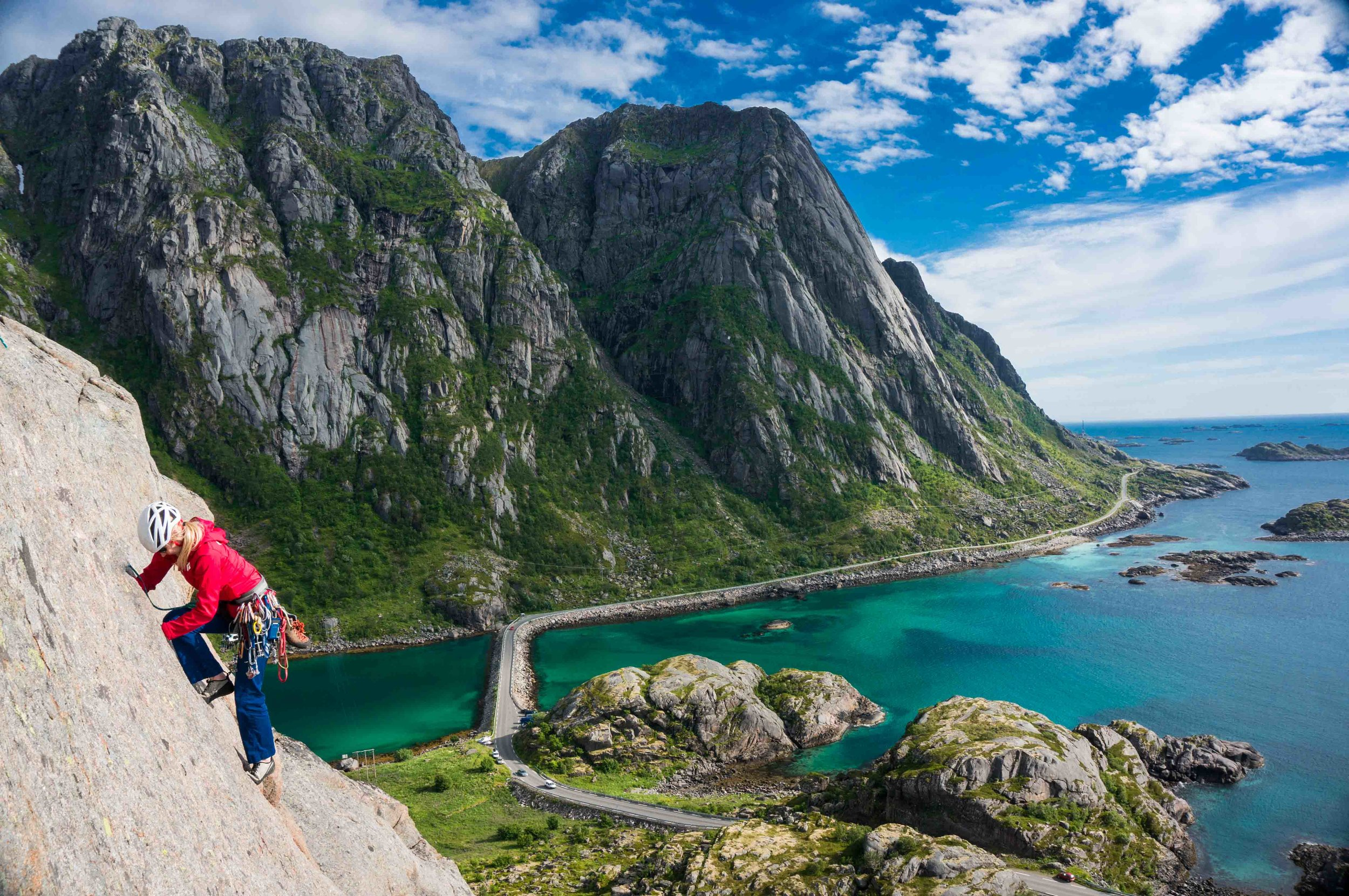 Rock climbing in Lofoton, Norway