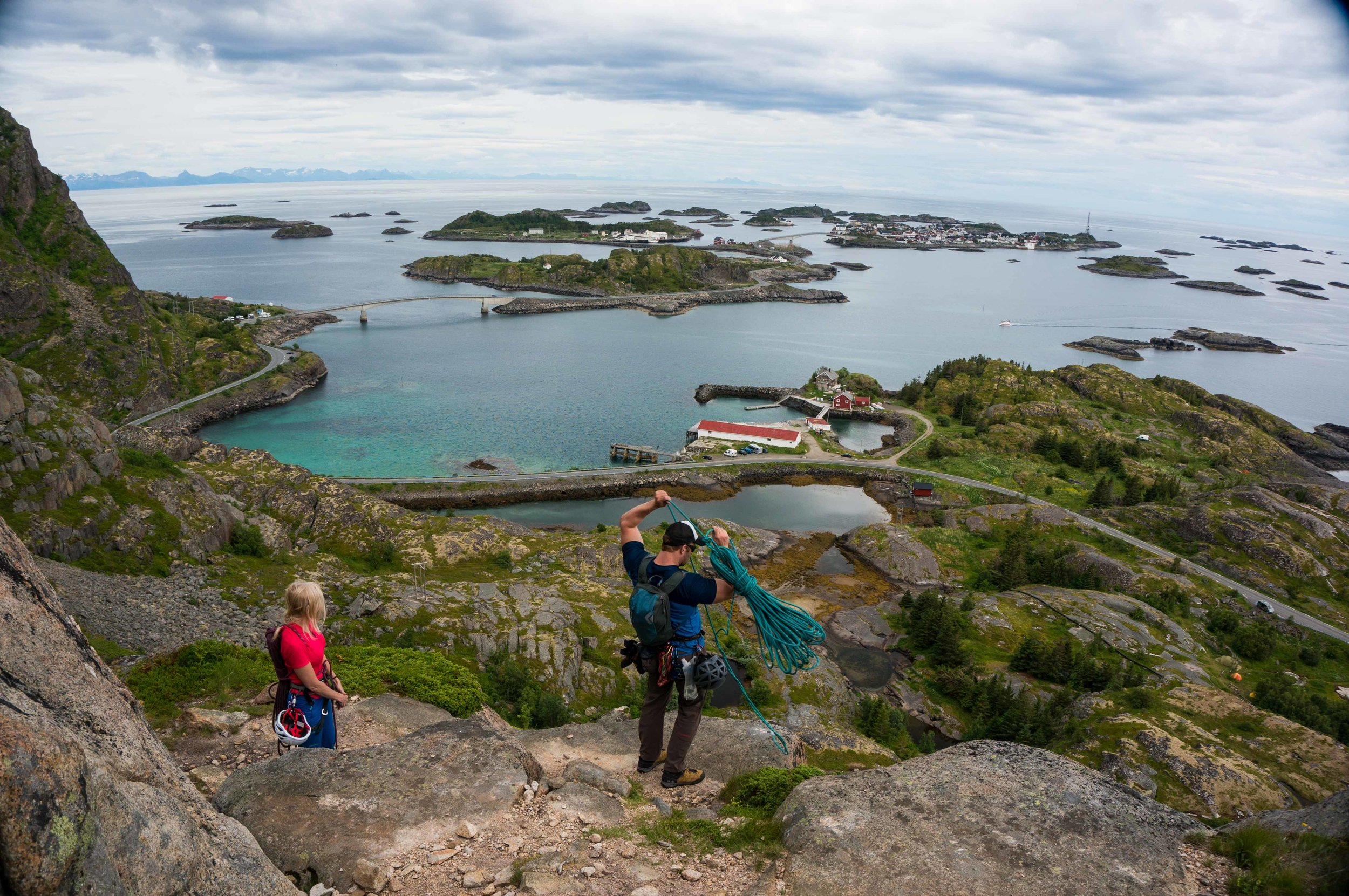 The top of a rock climb near Heningsvaer