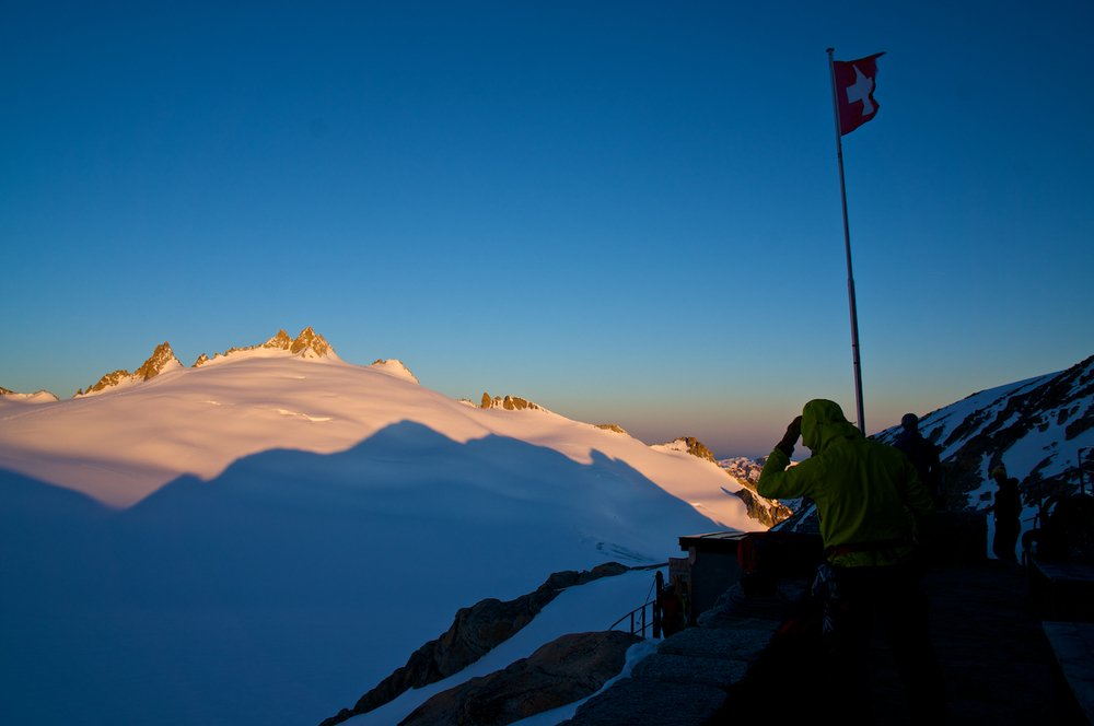 Sunset at the Trient hut looking out over the Trient Glacier