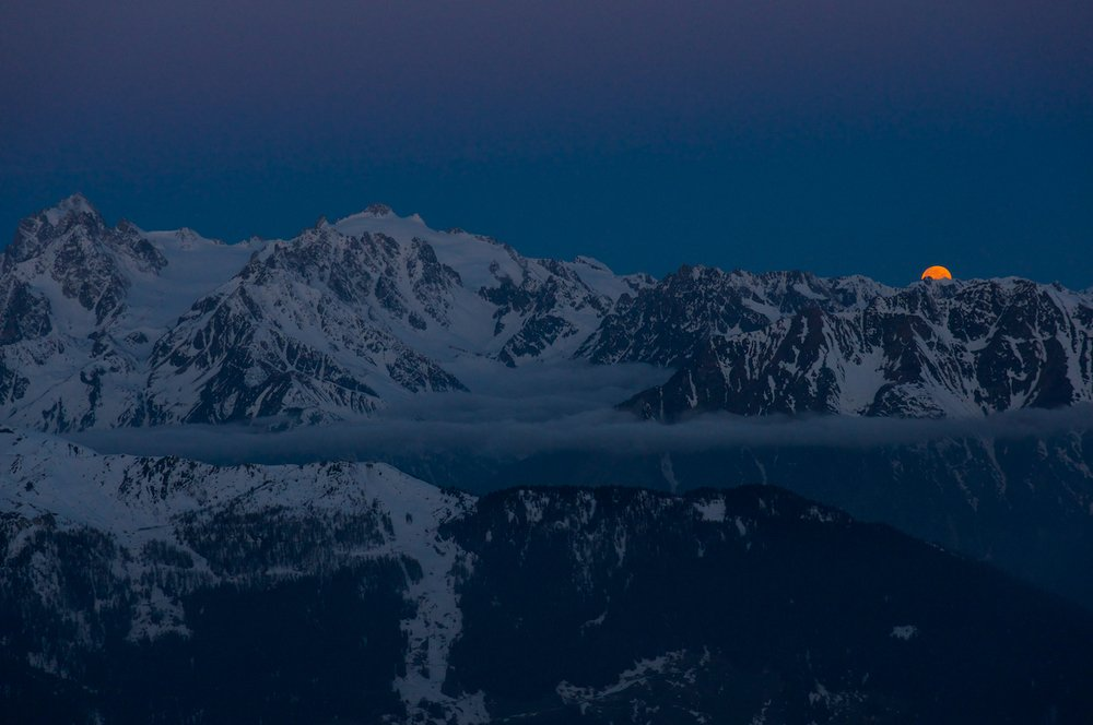 Moonrise over the Mont Blanc massif from the Mont Fort Hut