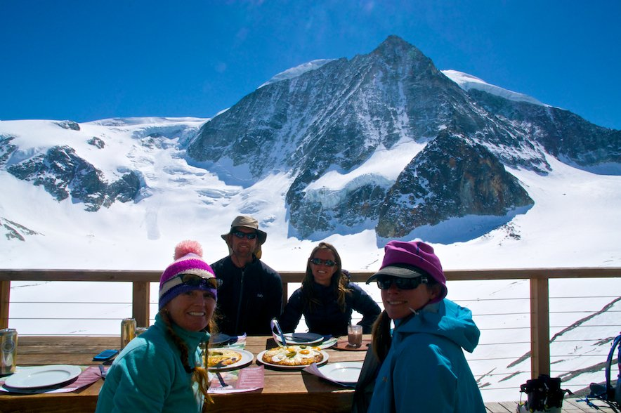 Afternoon snack on the deck of the Dix Hut