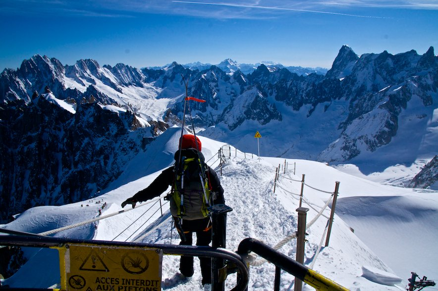 Exiting the Aiguille du Midi cable car station on the Vallee Blanche ski