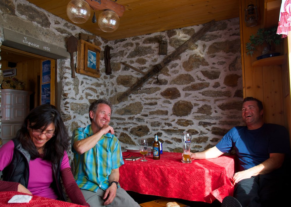Relaxing in the Branca hut