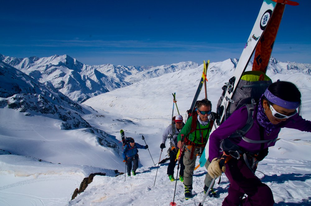 Climbing on the last day of the Ortler ski tour