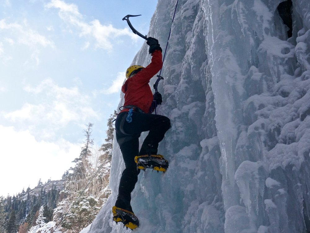 Climbing steep ice
