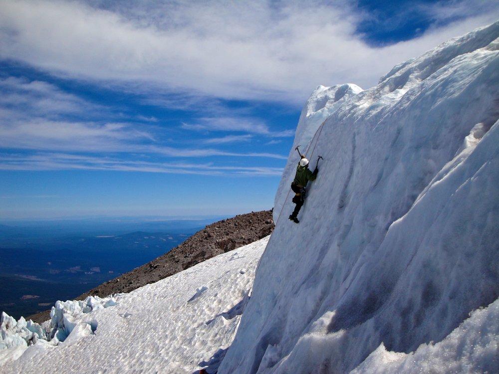 Ice climbing on Mount Shasta