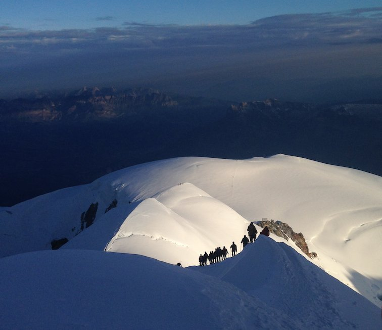 Summit ridge of Mont Blanc
