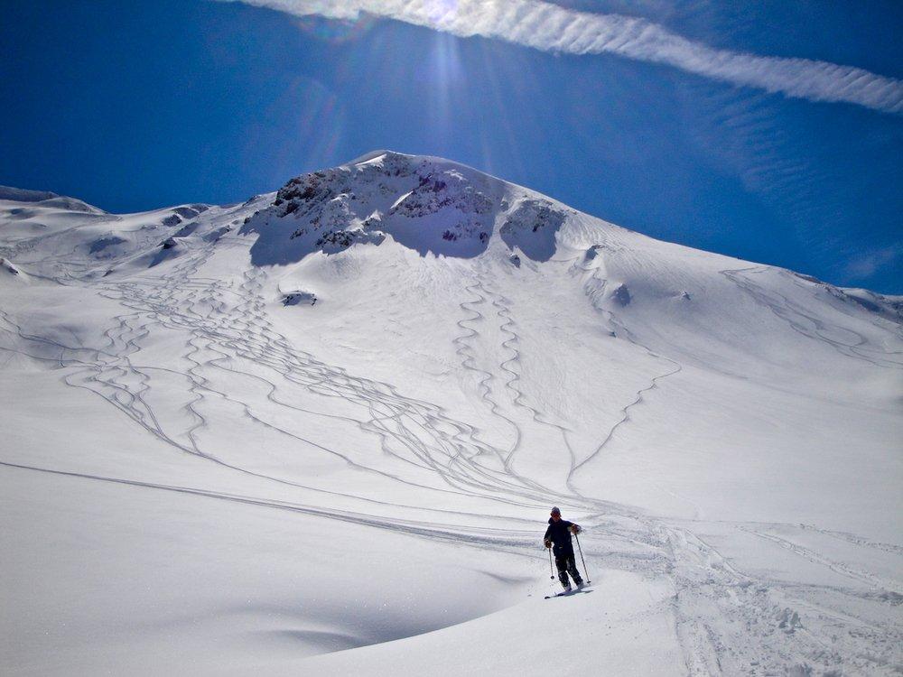 Fresh ski tracks in Chamonix