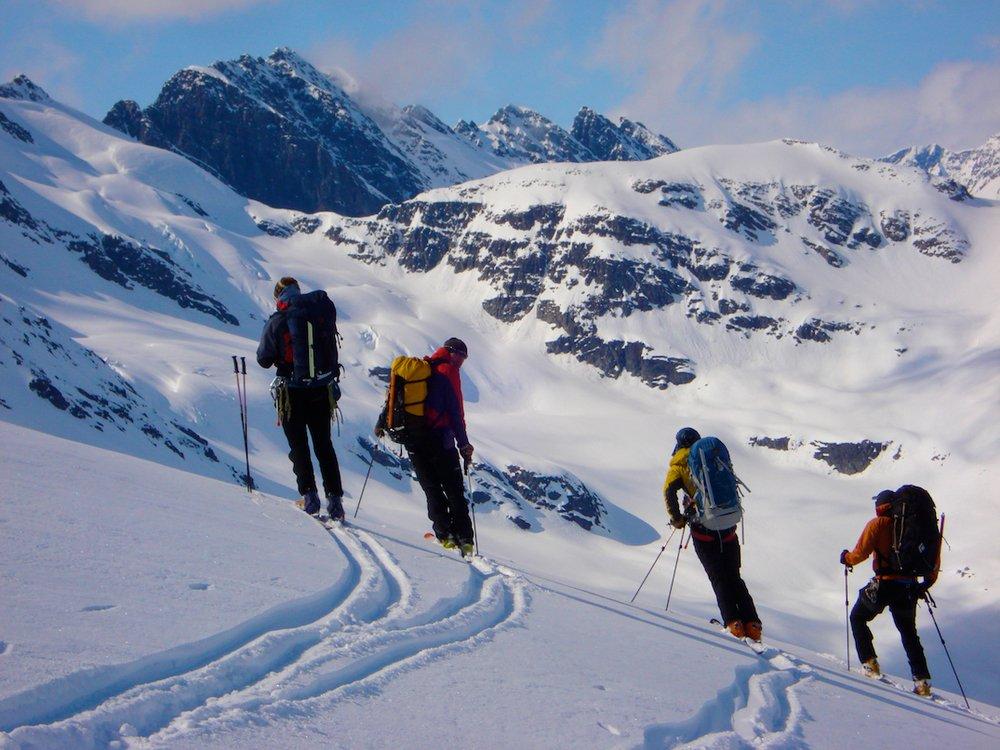 Ski touring in Valdez