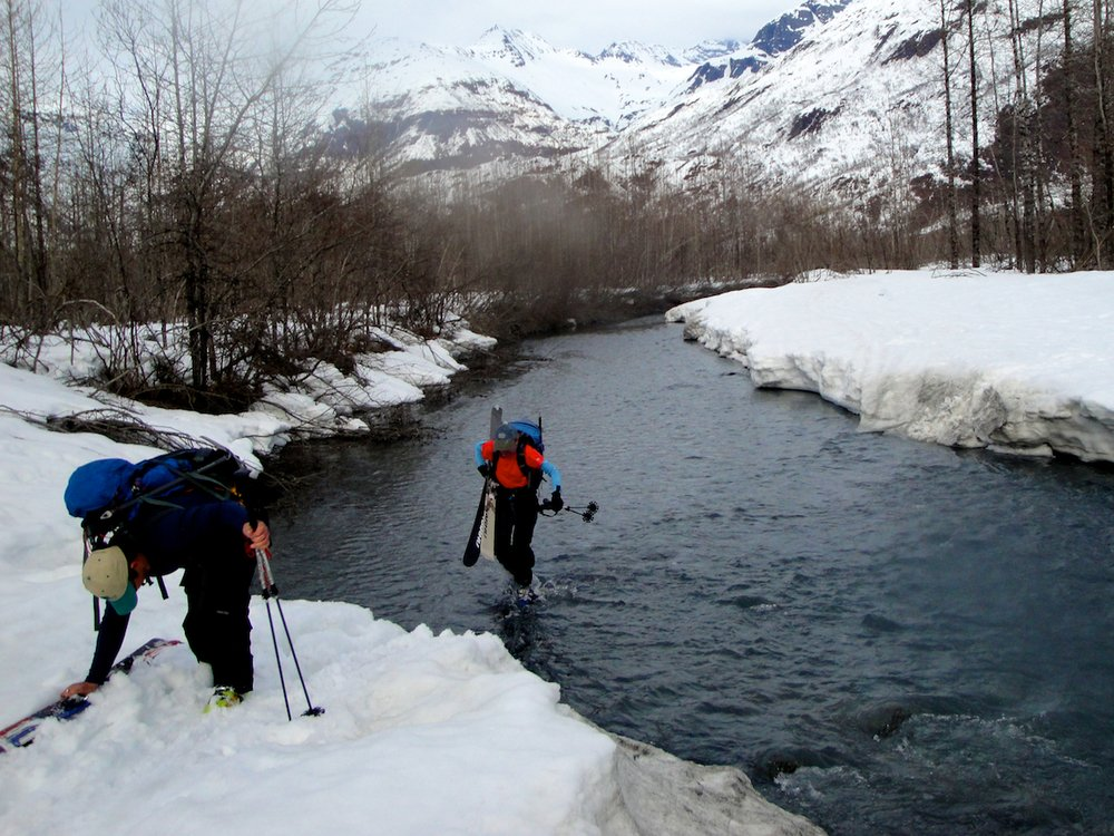 River crossing skiing into Valdez