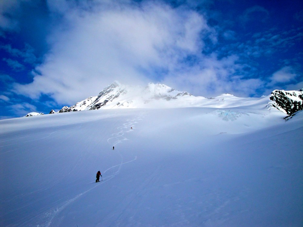 Fresh tracks skiing down a Valdez glacier