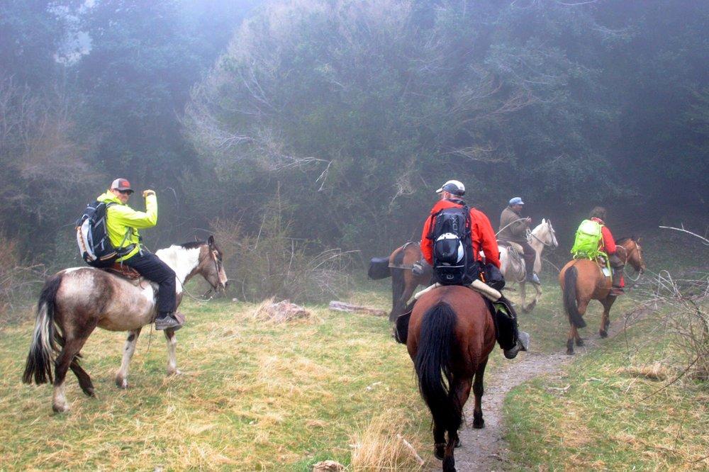 Horseback ride into our ski basecamp