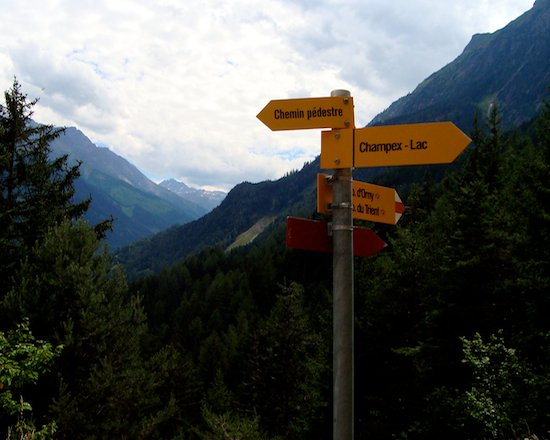 Trail signs along the Haute Route trek