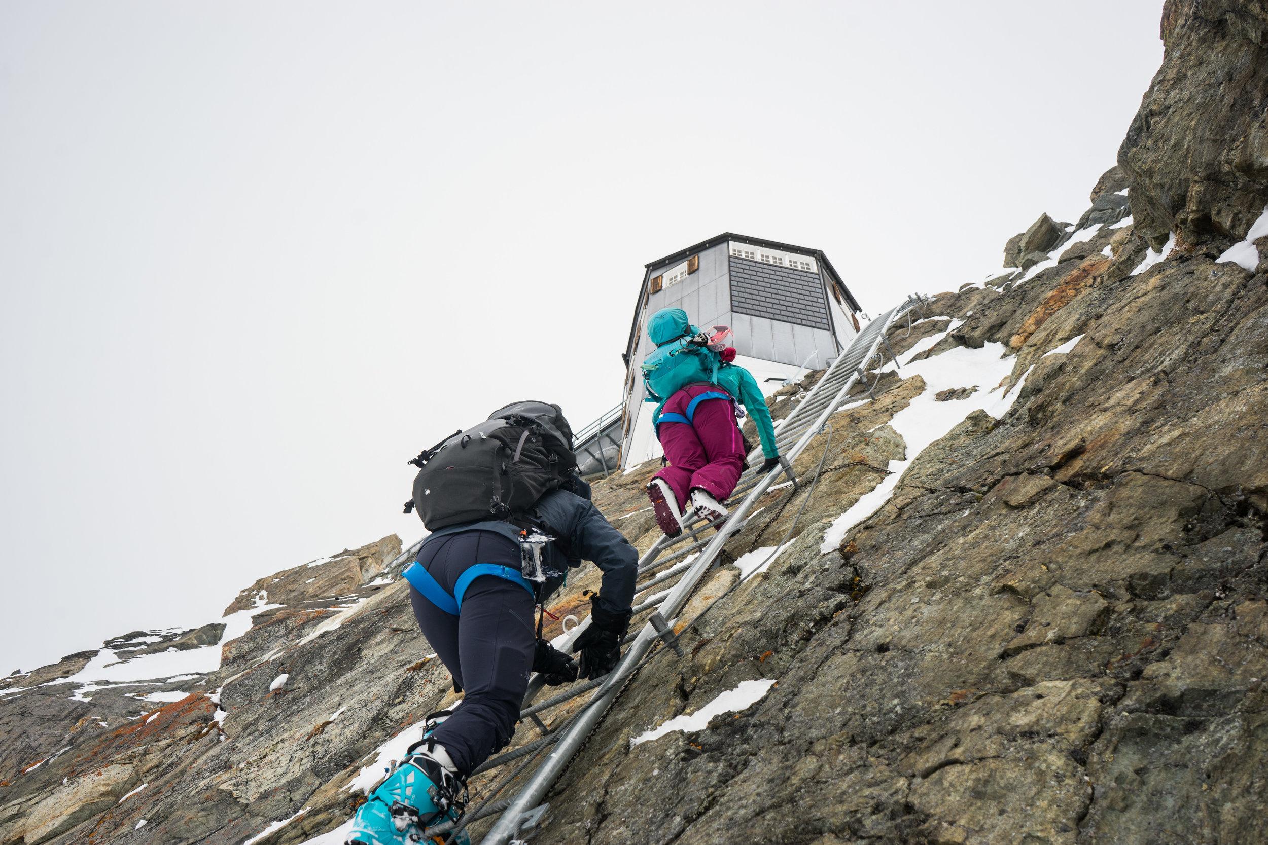Climbing the ladders to the Bertol Hut