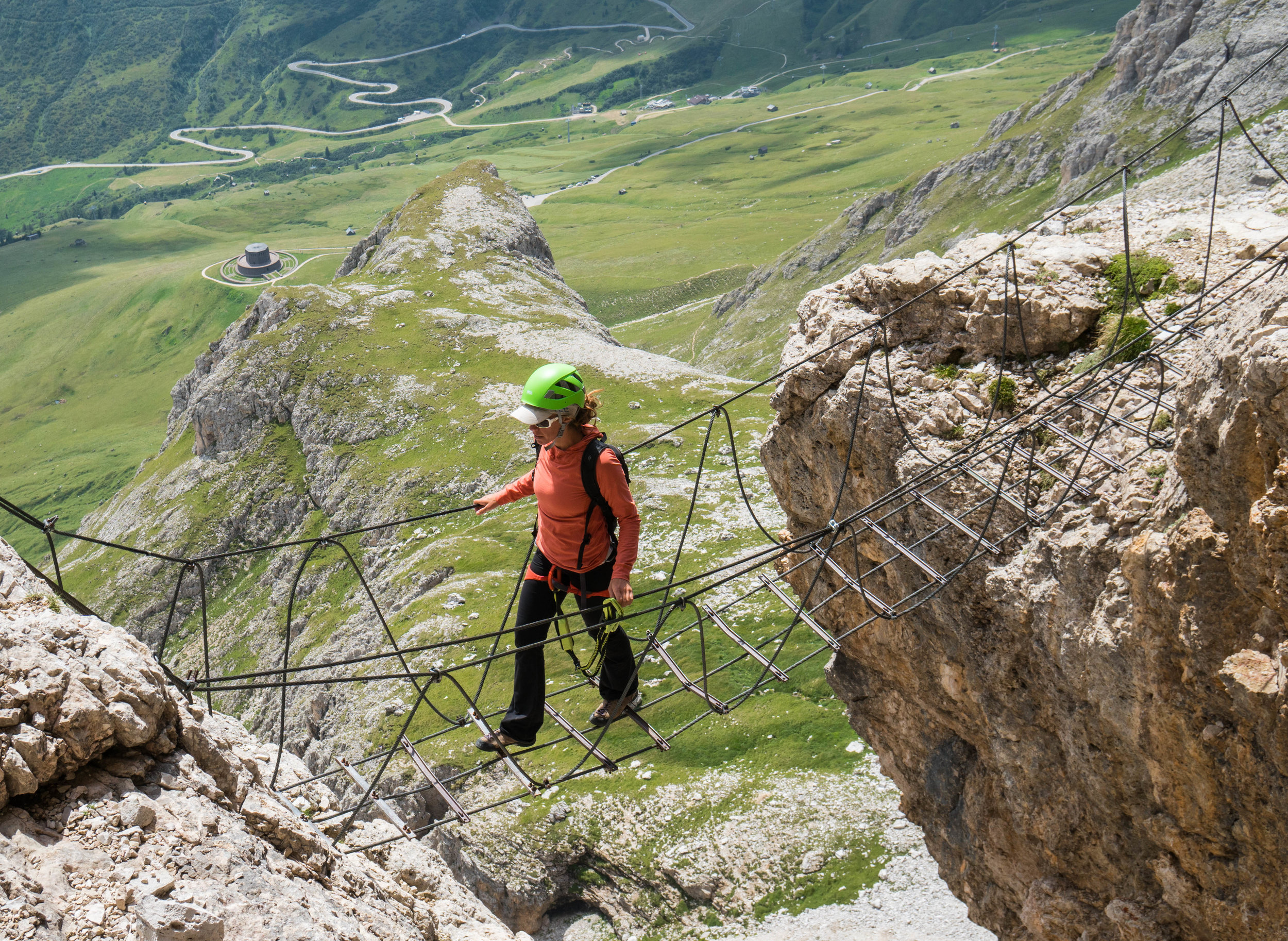 Crossing a suspension bridge