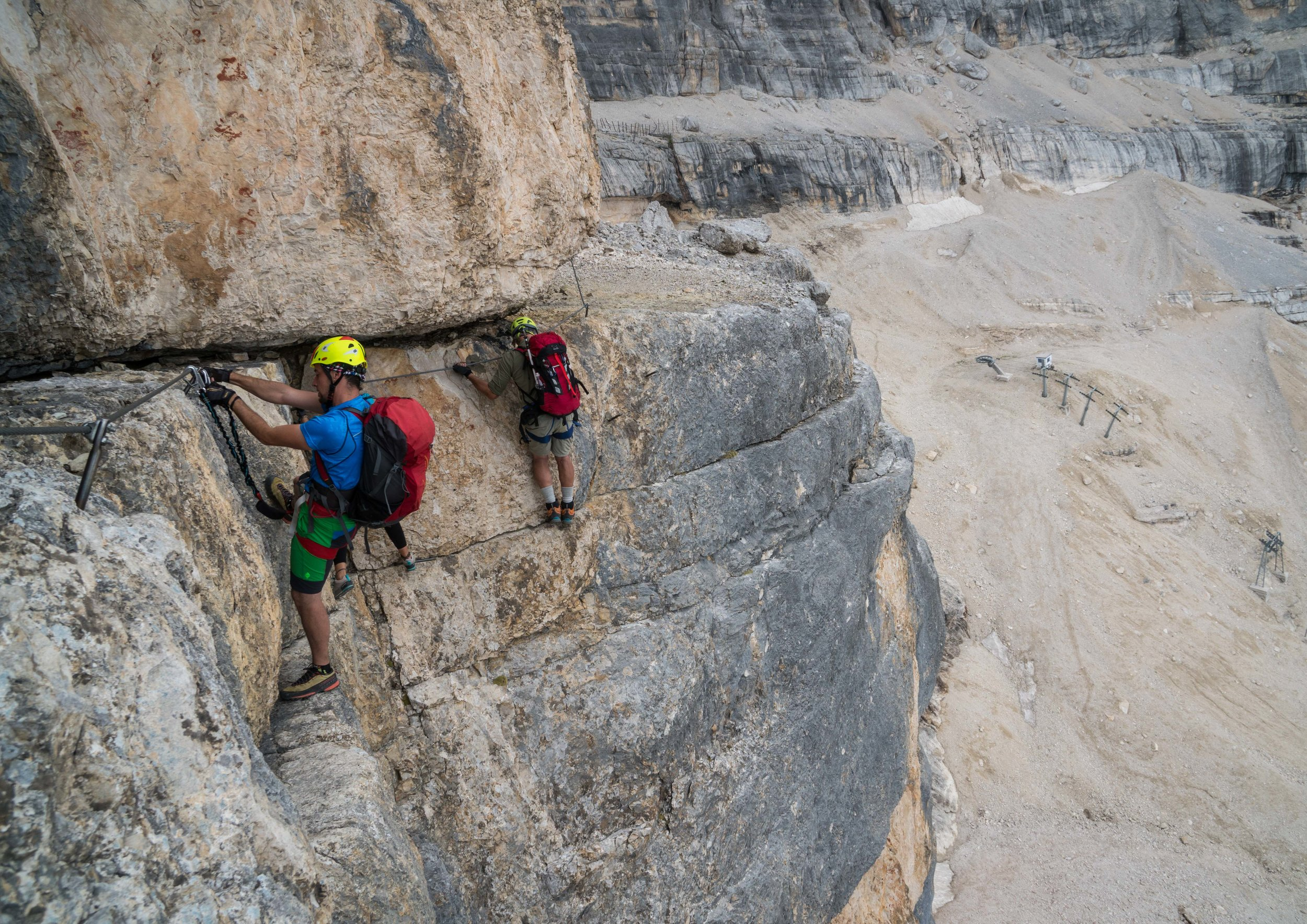 An exposed traverse high above Cortina d'Ampezzo, Italy.